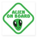 alien on board with green square sticker