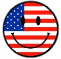 USA Flag Smiley Face Sticker