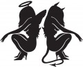 Angel and Devil Sitting Decal 1