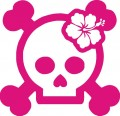 Skull Hibiscus Hawaiian Flower Sticker 2
