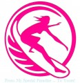 Surfer Female Circle Diecut Decal Pink