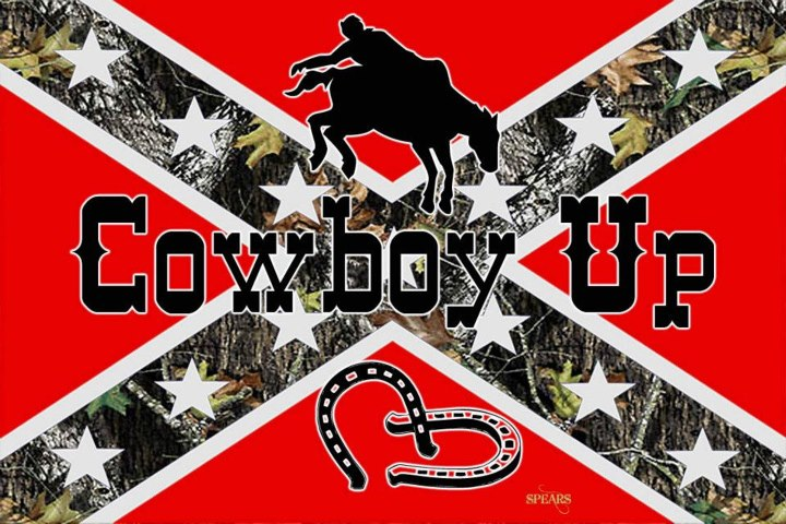 Cowboy Up Camo Rebel Flag Sticker Custom Wall Graphics