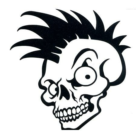Hip Skull with Mohawk Decal - Custom Wall Graphics