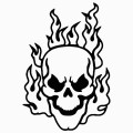 Flaming Skull 1 Vinyl Sticker