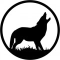 Wolf Howling Circle Decal
