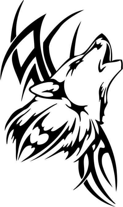 Tribal Wolf Sticker 45, tribal animals decal, tribal animals sticker