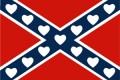 confederate flag with hearts sticker