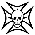 Maltese Cross and Skull Decal
