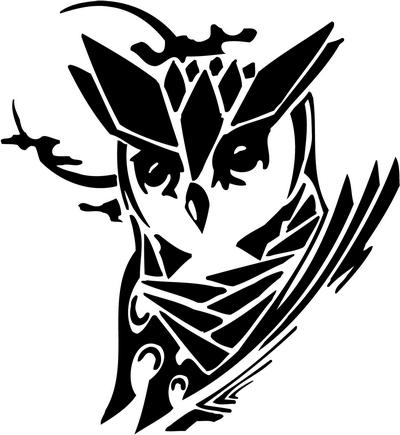 Tribal owl stickers4 tribal animals decal tribal animals for Tribal owl tattoo