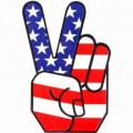 Peace Hand Flag Wall Sticker