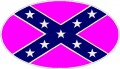confederate flag oval decal PINK