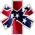 star of life ems emt with rebel flag in decals sticker ems rebel