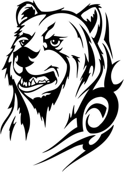wall tribal sticker Sticker Decals animals tribal Tribal Bear animals tribal decal, 33,