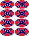 confederate flag oval decal set - 8 total