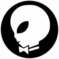 alien playboy decal black anD white round sticker