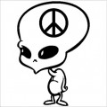 Alien Peace Cartoon Decal