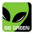 be green alien sticker