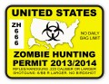 Zombie Hunting Permit Sticker Yellow