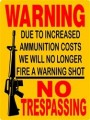WARNING NO TRESPASSING STICKER