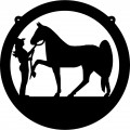 Cowgirl & Horse Circle Decal 2