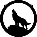 Wolf Howling Circle Decal 3