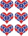 rebel flag heart sticker set - 6 total