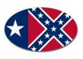texas confederate rebel flag oval decal