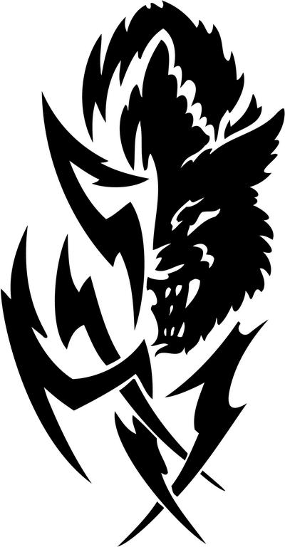 Tribal Wolf Sticker 01 Tribal Animals Decal Tribal