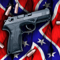 gun with battle flag sticker