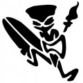 Tiki Surfer with Torch Decal