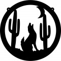 Wolf Howling Circle Decal 2
