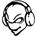 Alien Disc Jockey DJ Cartoon Decal