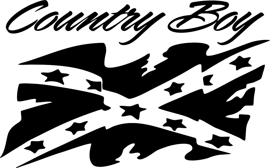 country boy rebel flag die cut decal - Custom Wall Graphics
