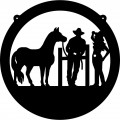 Cowboy, Cowgirl, and Horse Circle