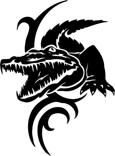 Tribal Alligator Decal Stickers 05 Tribal Animals Decal