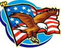 USA Flag and Eagle Cartoon Decal