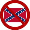 banned no rebel flag round sticker