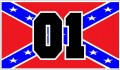 01 Rebel Dukes Race Number Sticker black and flag