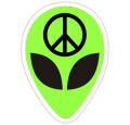 alien head peace sticker