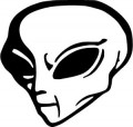 alien head ufo outer space man die cut decal
